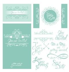 wedding invitation set 3 380 vector image