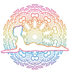 Women silhouette sphinx yoga pose salamba vector
