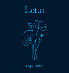 yoga center emblem with lotus flower vector image