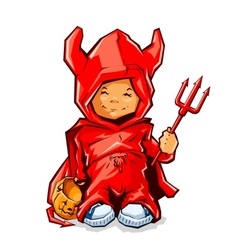 little boy in demons costume vector image