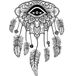 American indian talisman dreamcatcher with eye vector