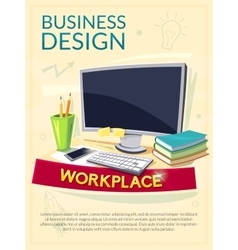 Workplace concept design poster vector
