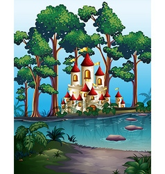 Castle towers in the forest vector
