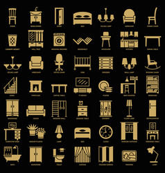 Room furniture silhouette icons set vector