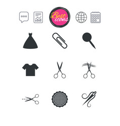 tailor sewing and embroidery icons scissors vector image