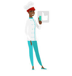 African-american chef cook pressing like button vector
