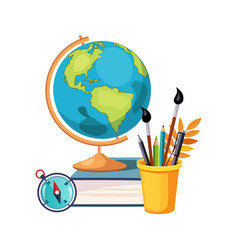 Geography globe and writing tools set of school vector