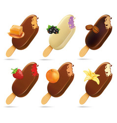 ice cream popsicles with caramel vanilla coffee vector image