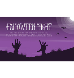 Halloween night landscape with zombie vector
