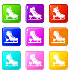 Ice skate set 9 vector