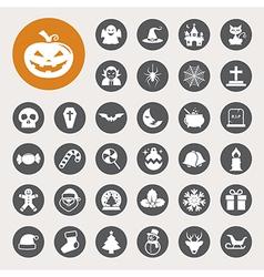 Christmas Halloween icon set vector image