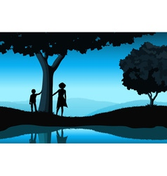 Nature background with silhouettes vector