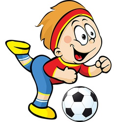 Football player with ball in action - vector