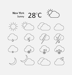 Thin weather icon set vector