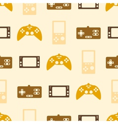 Seamless background with game consoles vector