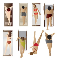People pool and beach top view set 1 vector