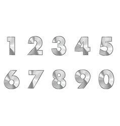 Steel numbers metal text vector