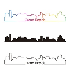 Grand rapids skyline linear style with rainbow vector