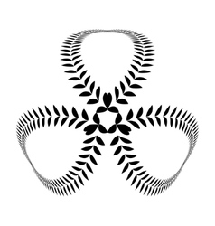 Laurel wreath tattoo clover trefoil sign with vector