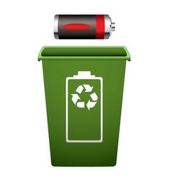 dead battery green recycle bin vector image