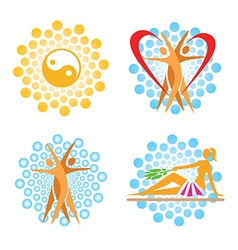 Health spa icons vector