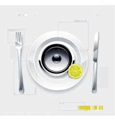speaker on plate vector image