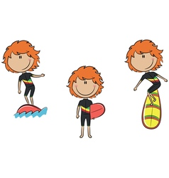 Collection of cute surfer girls vector