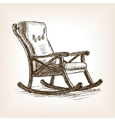 Rocking chair sketch style vector