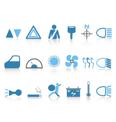 Blue car dashboard icons set vector