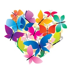 Butterflies colorful heart vector