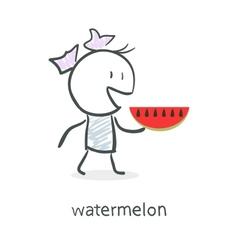 Cartoon girl and watermelon vector