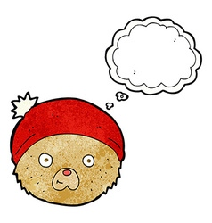 Cartoon teddy bear face with thought bubble vector