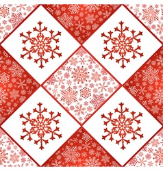 Checkered seamless pattern with snowflakes vector