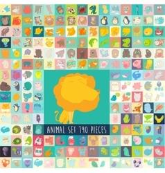 Cute cartoon animals set hand drawn vector