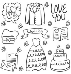 Doodle of wedding various element vector