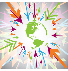 Earth with colorful arrows vector