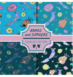 Exotic birds and flowers pattern set vector