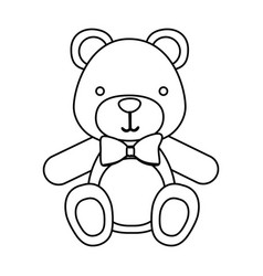 figure teddy bear with tie icon vector image