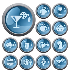 Food and drink buttons vector image