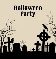 Halloween party on a spooky graveyard retro poste vector