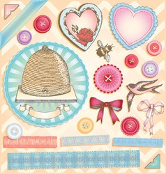 Hand drawn vintage scrapbook set vector