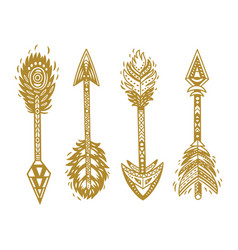 Indian ethnic arrows in gold vector