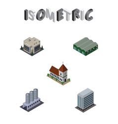 Isometric urban set of company water storage vector
