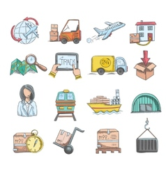 Logistics Sketch Icons Set vector image vector image