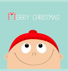 merry christmas candy cane kid face looking up vector image vector image