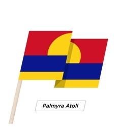 Palmyra atoll ribbon waving flag isolated on white vector