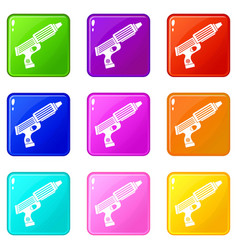 Plastic gun toy icons 9 set vector