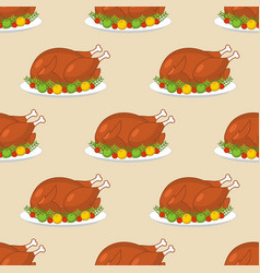 roast turkey for thanksgiving seamless pattern vector image vector image