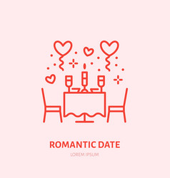 Romantic date dinner by candlelight vector