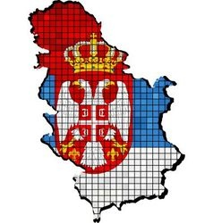 Serbia map with flag inside vector image